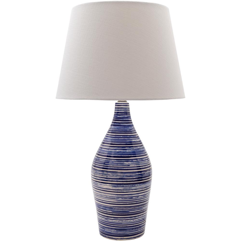Sandra 29 in. Navy/White Indoor Table Lamp