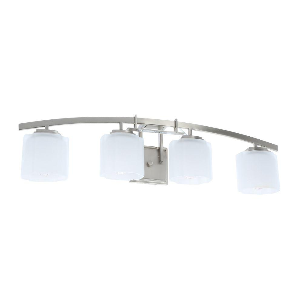Architecture 4-Light Brushed Nickel Vanity Light with Etched White Glass Shades