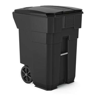 96 Gal. Gray Plastic Curbside Commercial Trash Can With Wheels And Attached Lid