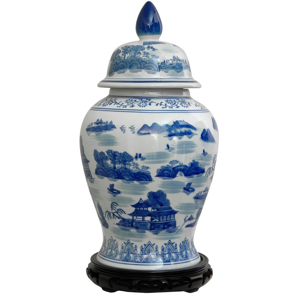 Oriental Furniture 18 In Porcelain Decorative Vase Blue