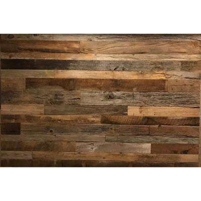 3 8 In X 4 Ft Random Width 5 10 59 Sq Brown Grey Barnwood Planks Decorative Wall Panel