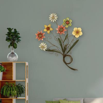 Multicolored Flower Metal Work Wall Decor