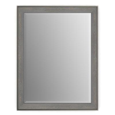 21 in. x 28 in. (S1) Rectangular Framed Mirror with Deluxe Glass and Float Mount Hardware in Weathered Wood