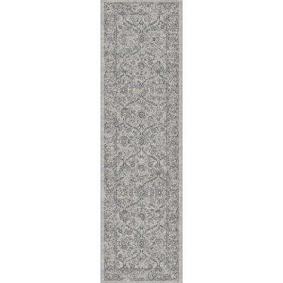 Ancient Garden Silver/Grey 2 ft. x 11 ft. Indoor Runner Rug