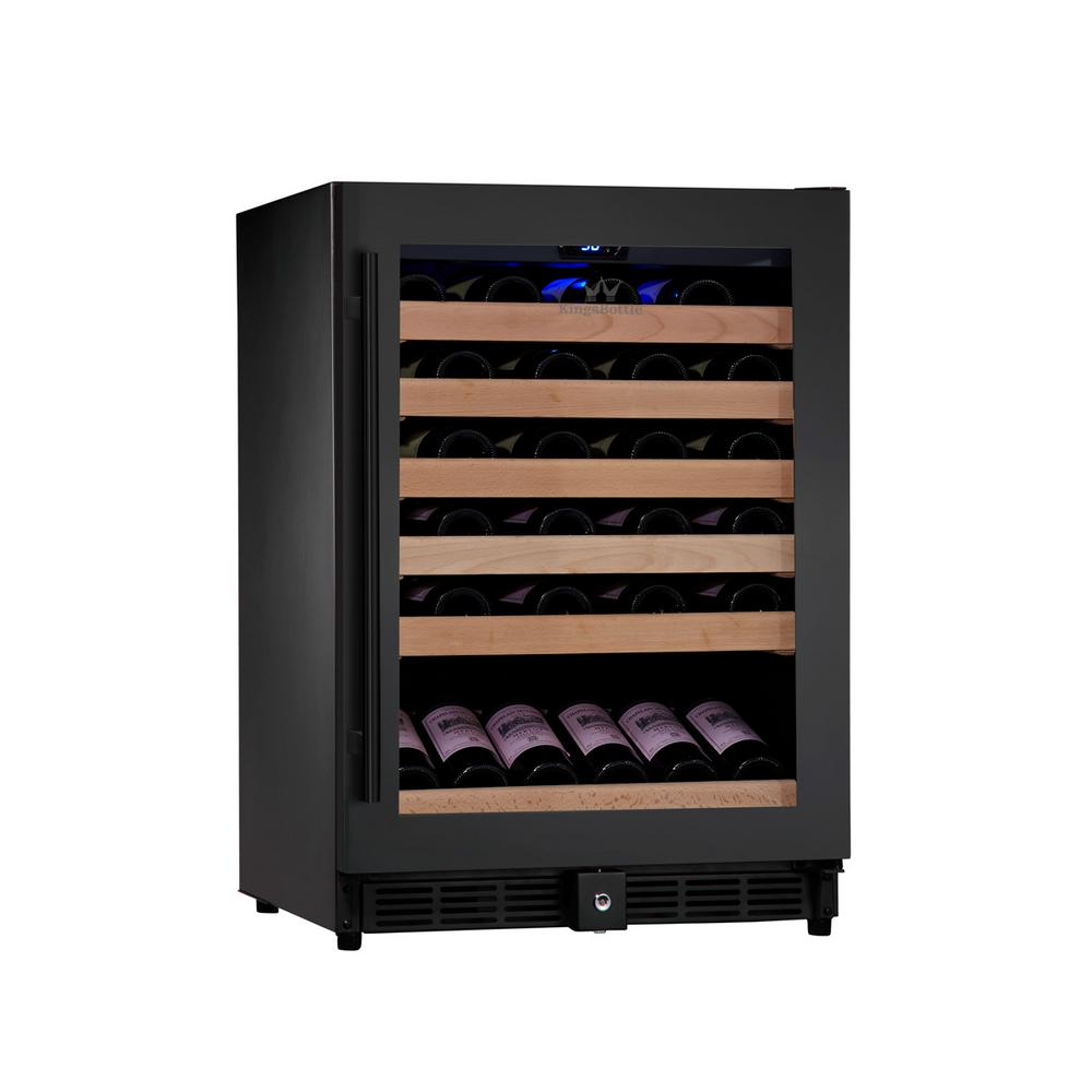 Single Zone 23.42 in. 46-Bottle Wine Cooler in Black