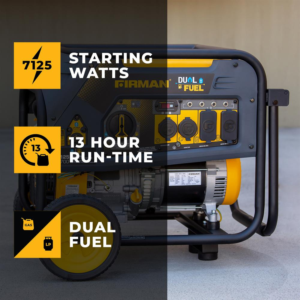 Firman 7125/5700-Watt 120/240V Recoil Start Gas or Propane Dual Fuel Portable Generator CARB Certified With Wheel Kit