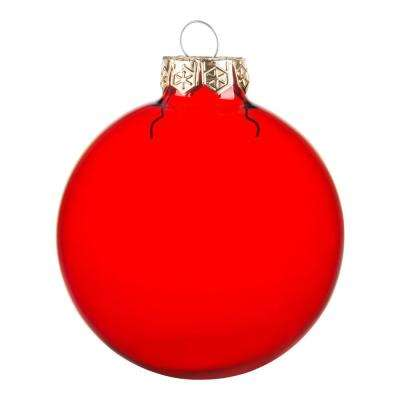 2.75 in. Red Clear Glass Christmas Ornaments (12-Pack)