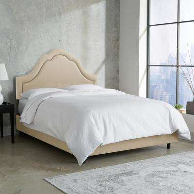 Linen Sandstone Queen Arch Inset Nail Button Bed
