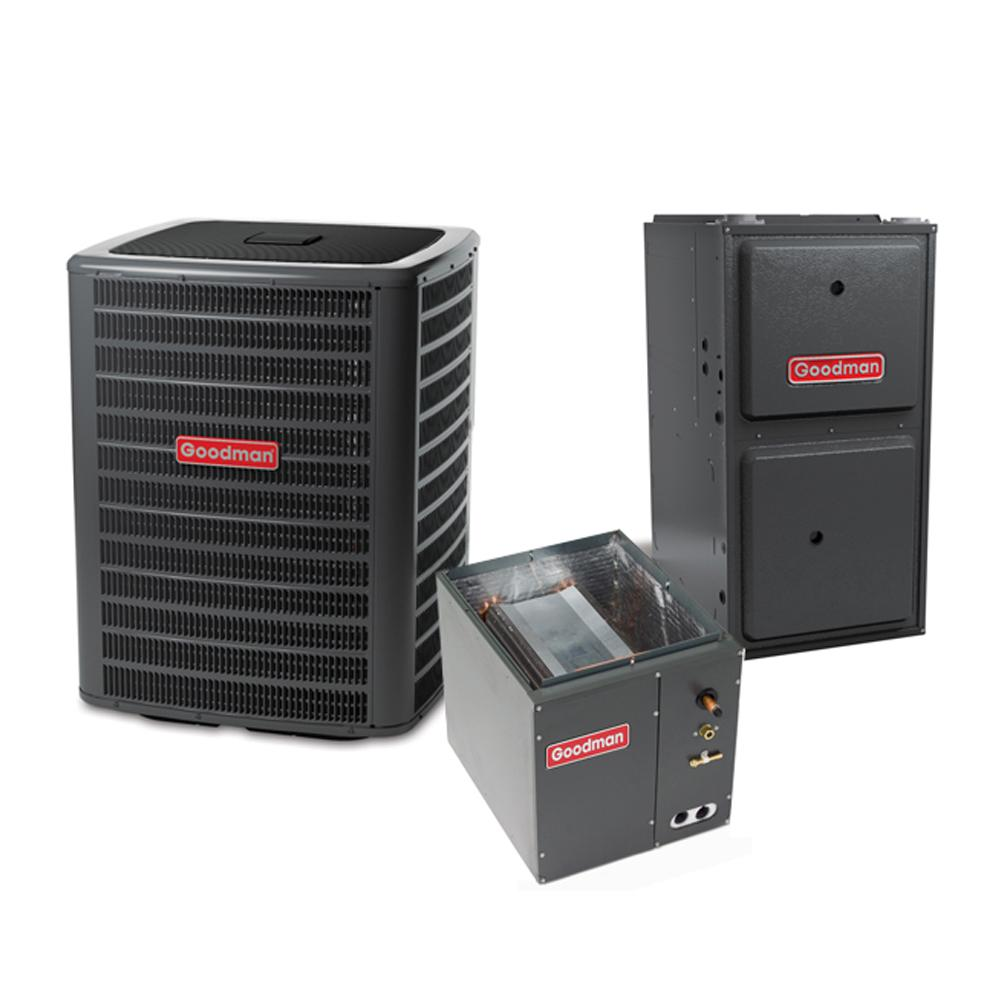 Goodmans 1.5 Ton 14.5 Seer 18000 BTU 96% Afue 60K BTU R410A Split System Central Air Conditioning and Multi-Position Gas System, Gray