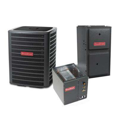 2.5 Ton 14.5 SEER 28600 BTU 96% AFUE 80K BTU Heat R410A Split System Central Air Conditioning and Downflow Gas System