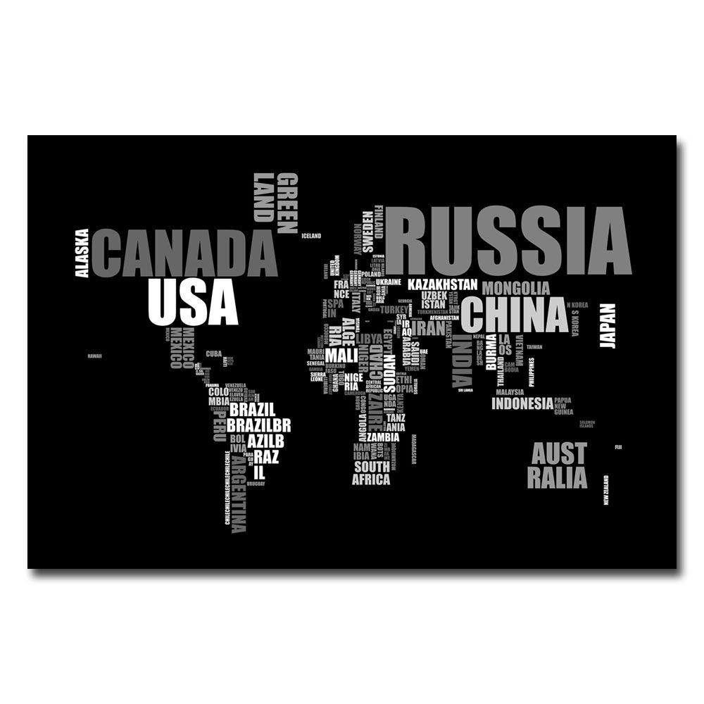 null 30 in. x 47 in. World Text Map Canvas Art