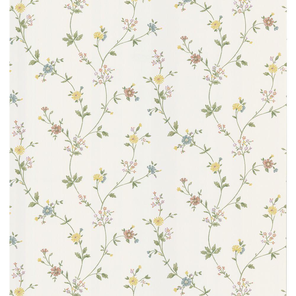 Cottage Living White Daisy Trail Wallpaper Sample