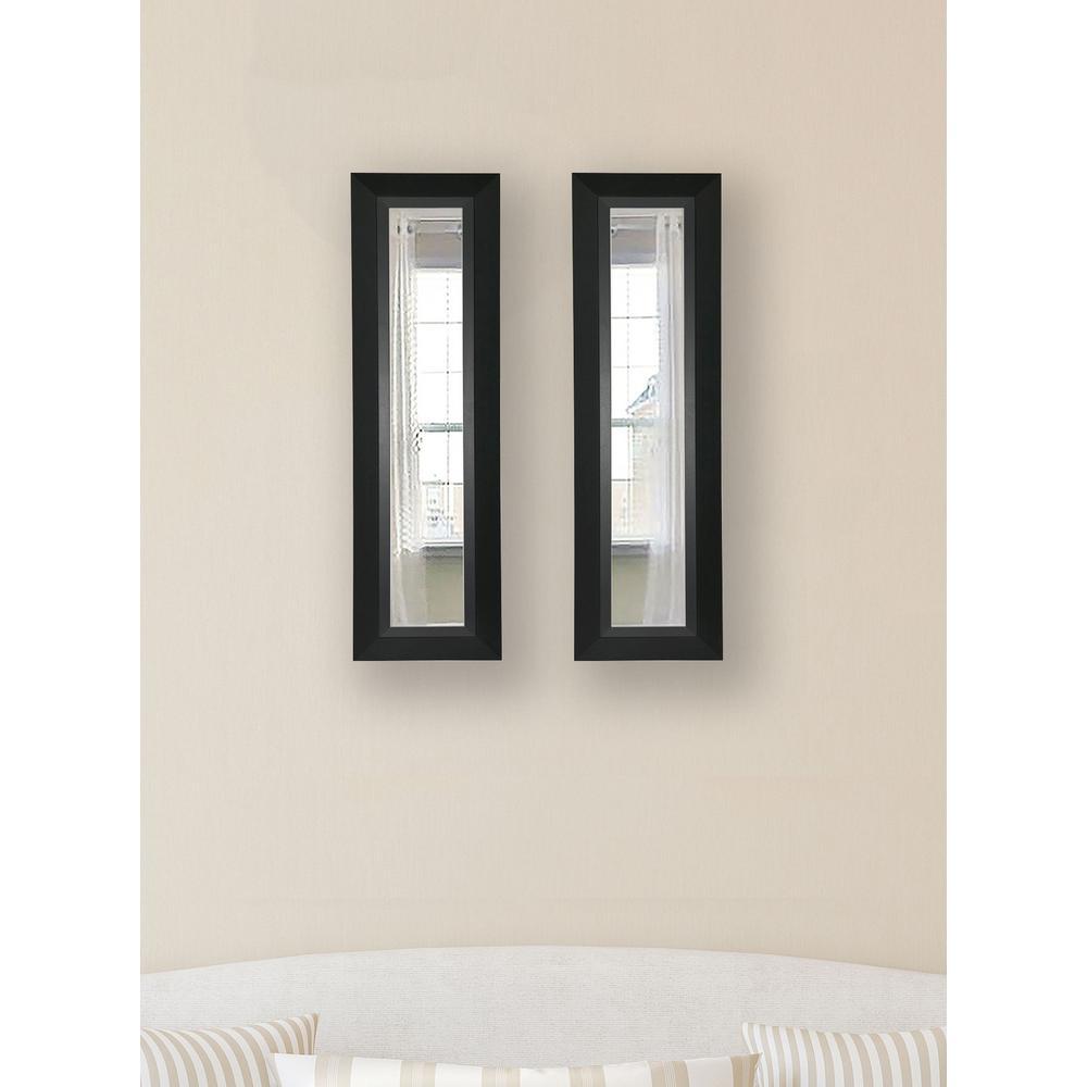 11 in. x 39 in. Attractive Matte Black Vanity Mirror (Set of 2-Panels)