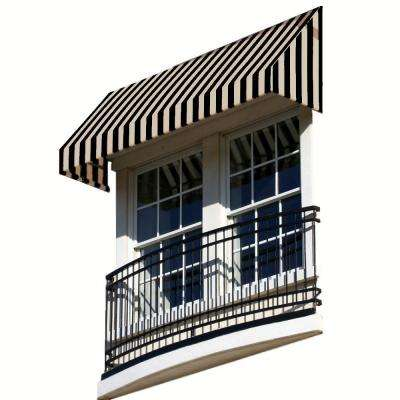 14 ft. New Yorker Window/Entry Awning (24 in. H x 42 in. D) in Black/Tan Stripe