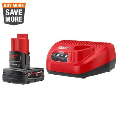 M12 12-Volt Lithium-Ion XC Battery Pack 4.0 Ah and Charger Starter Kit