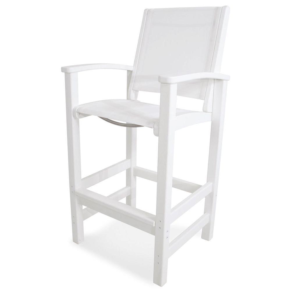 POLYWOOD Coastal White Patio Bar Chair with White Sling