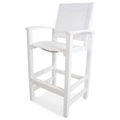Coastal White Patio Bar Chair with White Sling