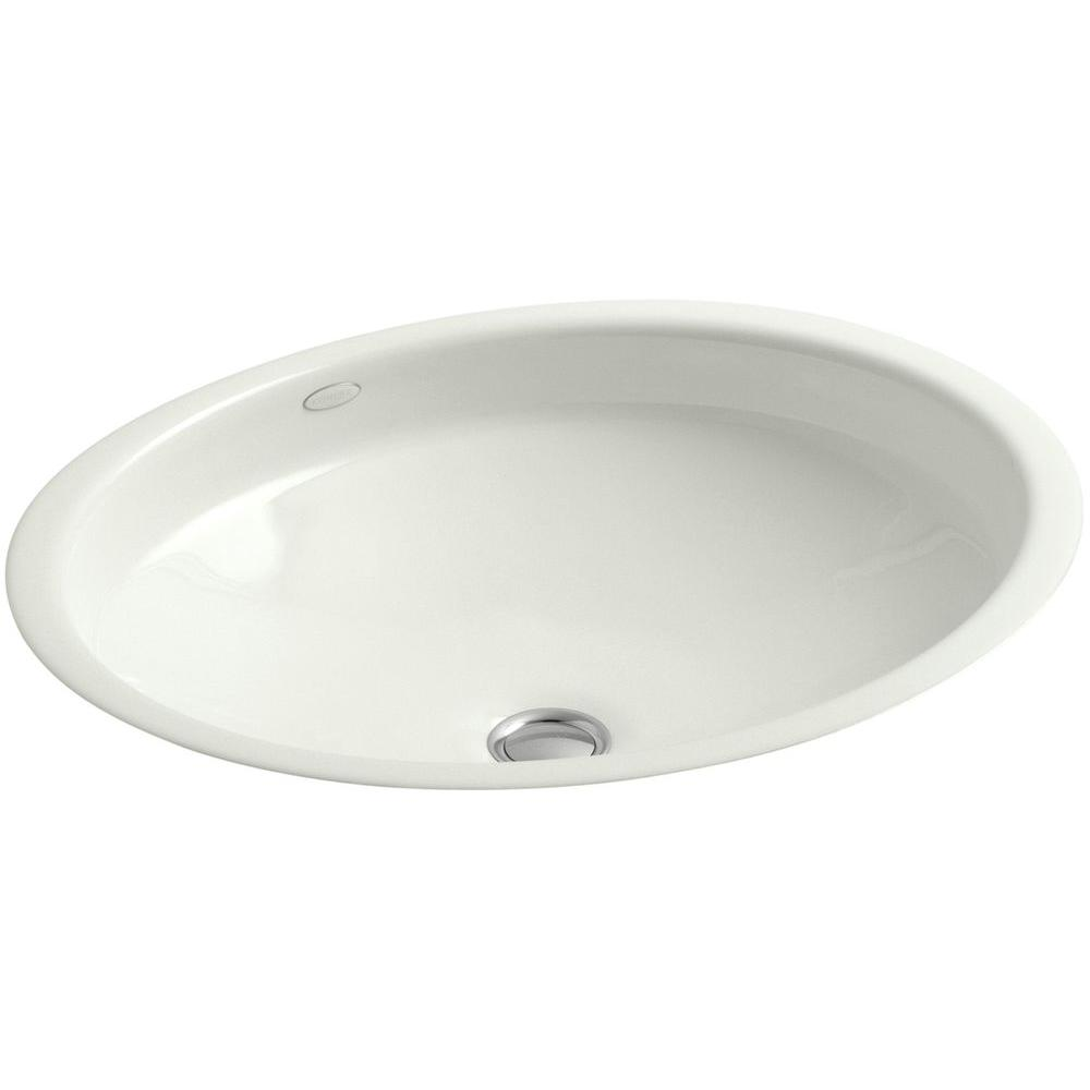 KOHLER Canvas Undermount Cast Iron Bathroom Sink in Dune with Overflow Drain
