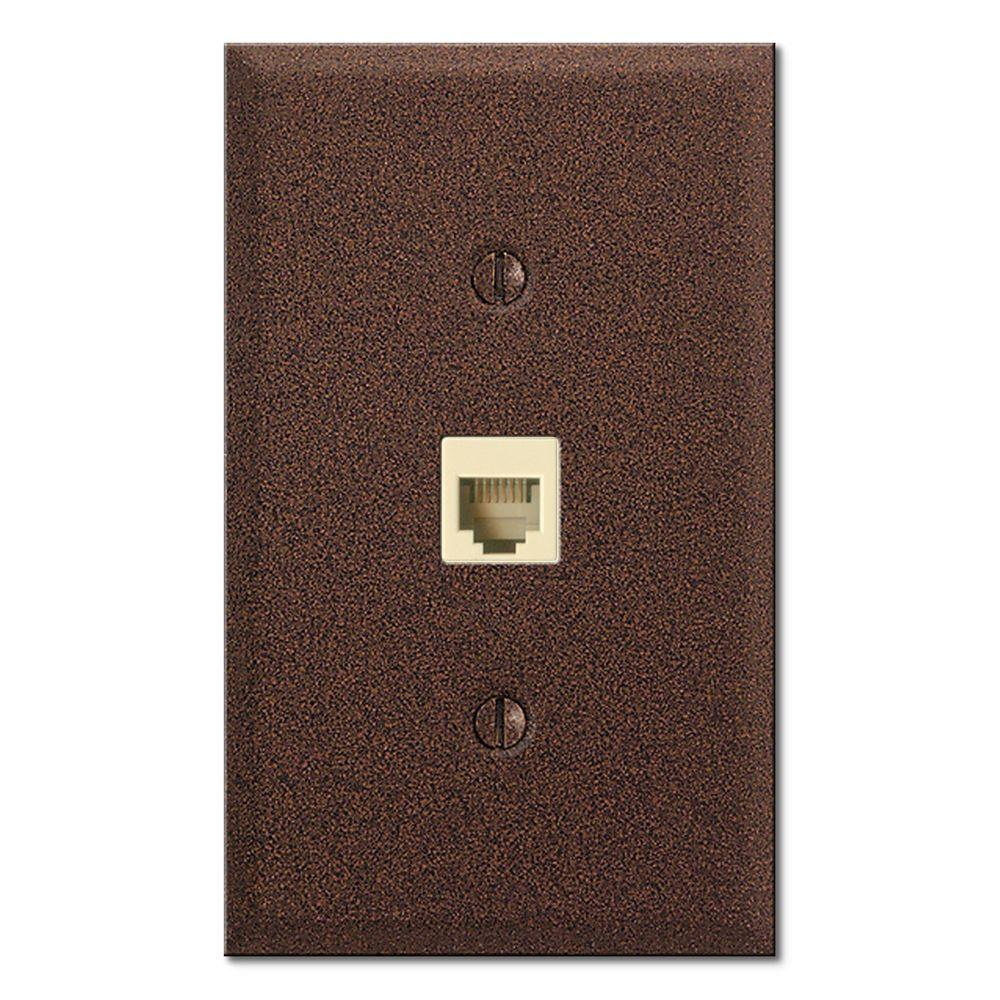 Creative Accents Steel 1 Gang Toggle Phone Jack Decorative Wall Plate - Rust Finish-DISCONTINUED