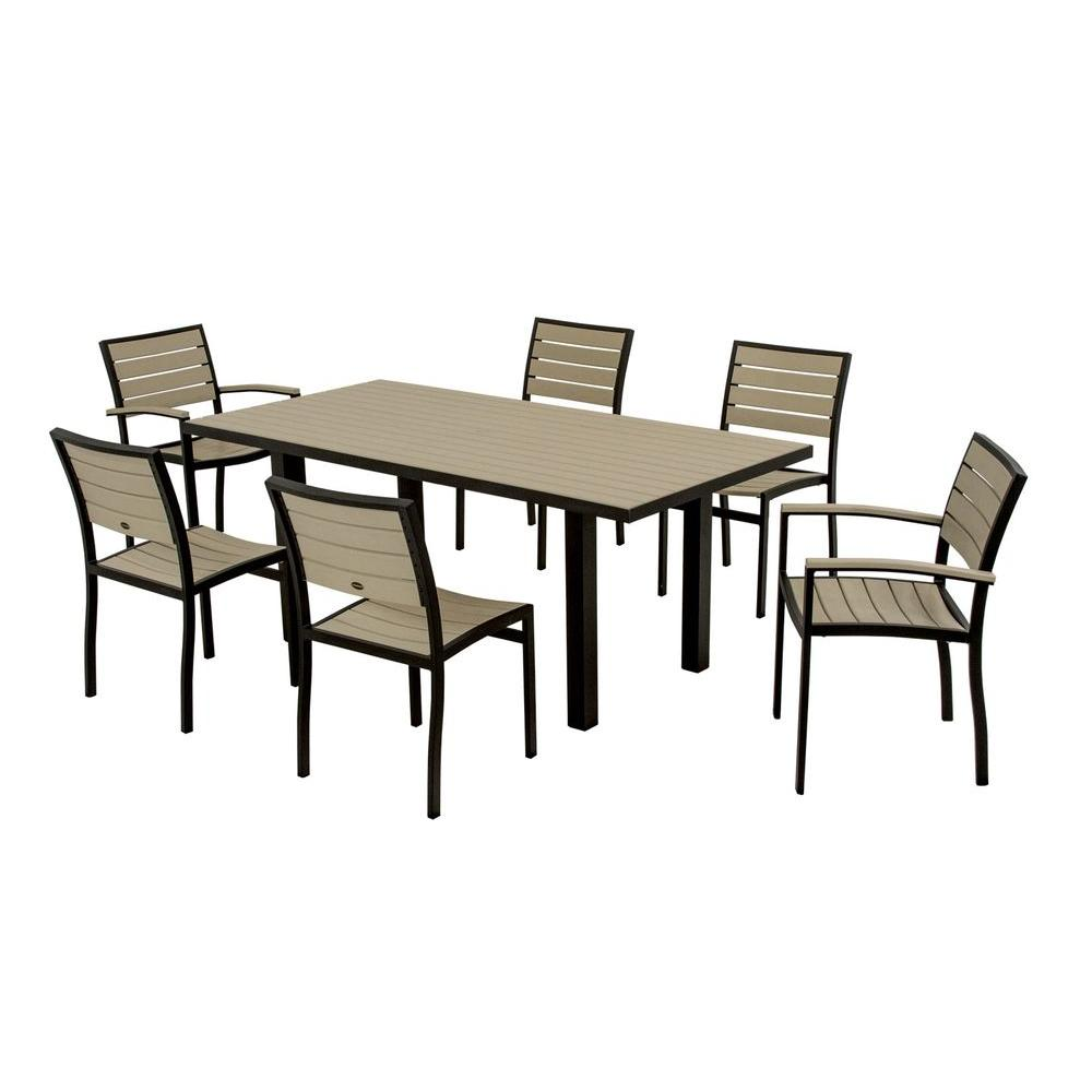 POLYWOOD Euro Textured Black All Weather Aluminum/Plastic Outdoor Dining Set  In Sand Slats