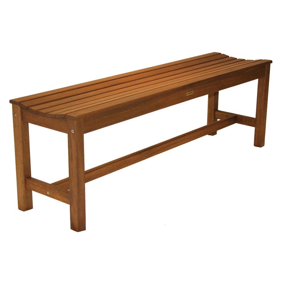 3-Person Eucalyptus Backless Outdoor Bench