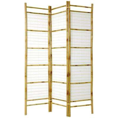 6 ft. Natural 3-Panel Burnt Bamboo Room Divider