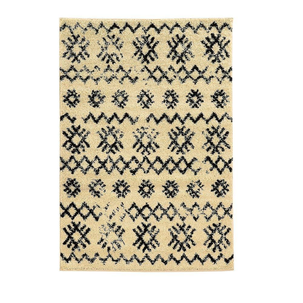Linon Home Decor Moroccan Collection Mekenes Ivory And Black 5 Ft X 7 Ft Indoor Area Rug