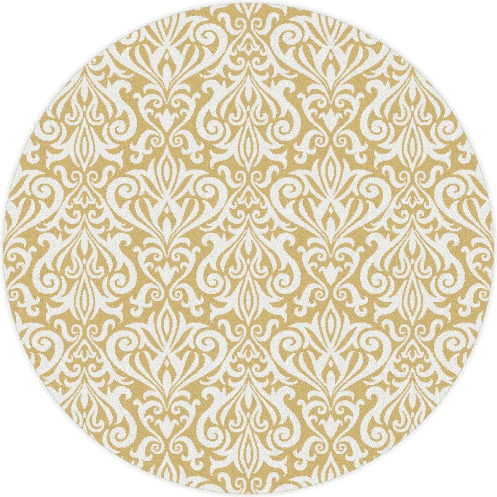 Tayse Rugs Metro Yellow 5 ft. 3 in. x 5 ft. 3 in. Contemporary Round Area Rug