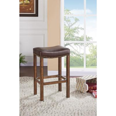 Tudor 26 in. Kahlua Faux Leather and Chestnut Wood Finish Backless Barstool
