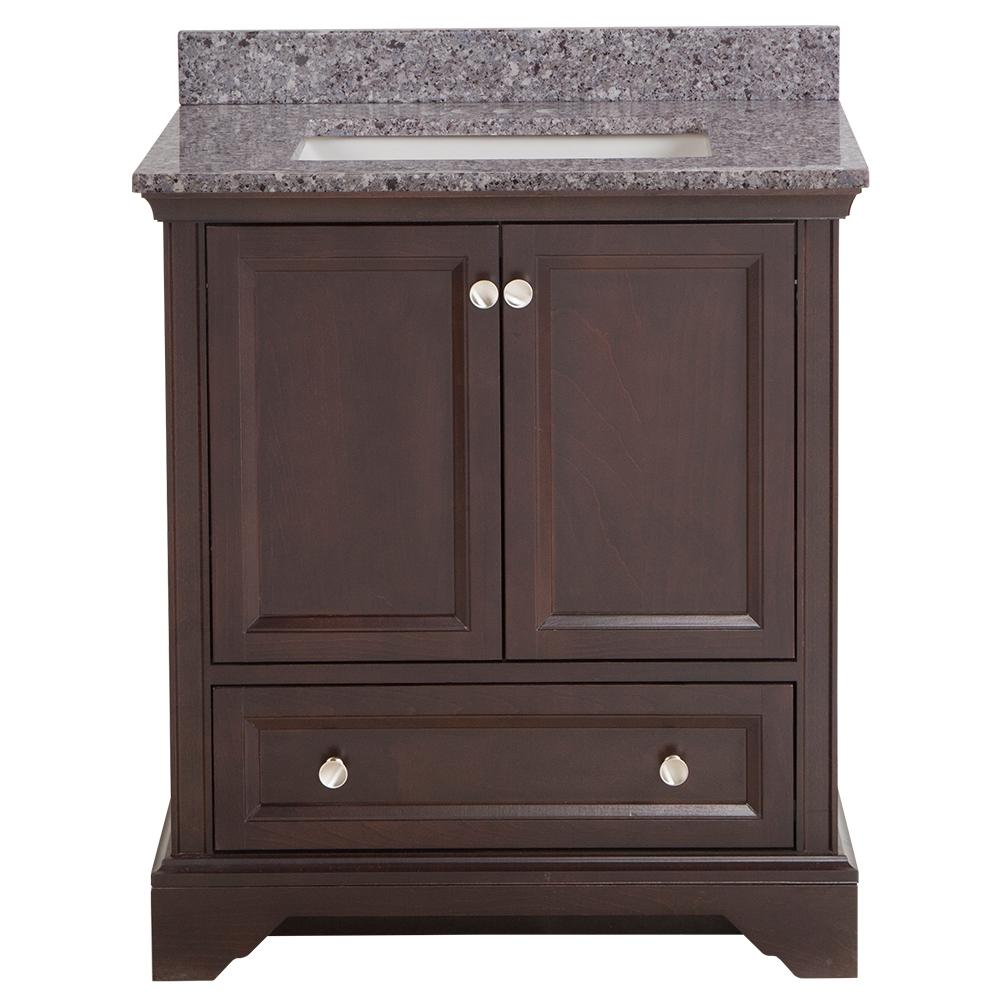Home Decorators Collection Stratfield 31 in. W x 22 in. D Bath Vanity in Chocolate with Stone Effect Vanity Top in Mineral Gray with White Sink