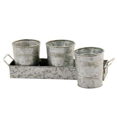 Gray Galvanized Metal Floor Picnic Caddy and Planters with Tray (Set of 3)