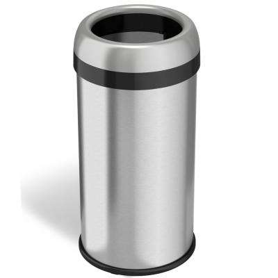 16 Gal. Round Open Top Commercial Grade Stainless Steel Trash Can and Recycle Bin with Dual-Deodorizer