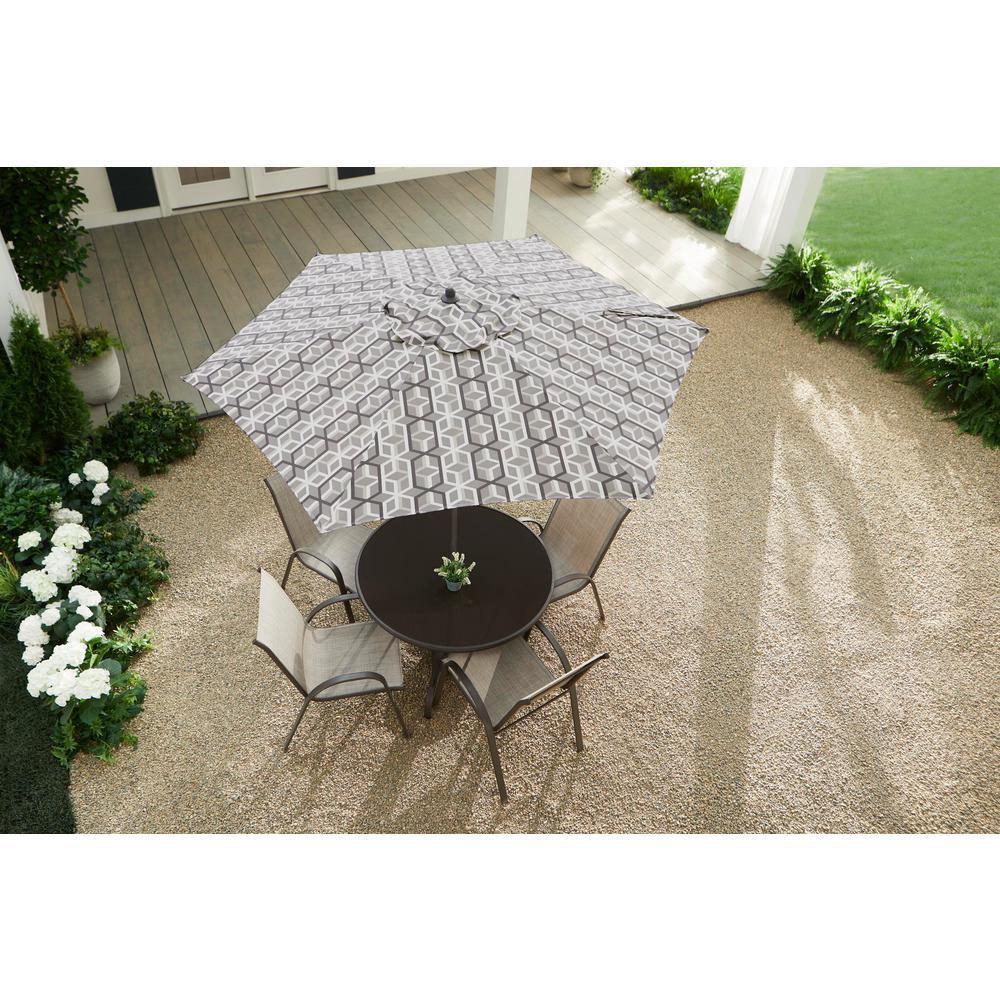 7.5 ft. Steel Market Outdoor Patio Umbrella in Modern Geo Stone Grey
