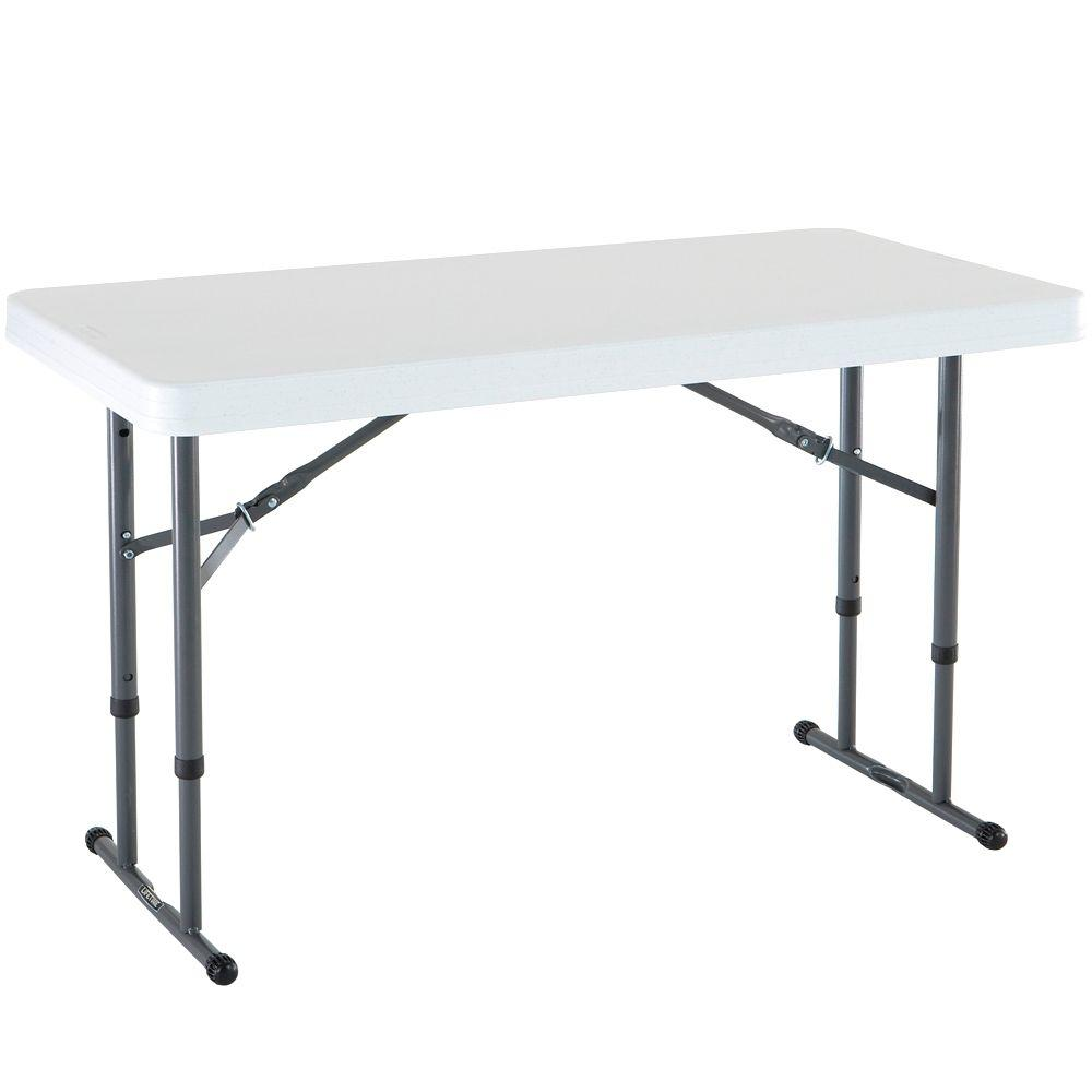 Lifetime 48 In White Plastic Adjustable Height Folding High Top Table
