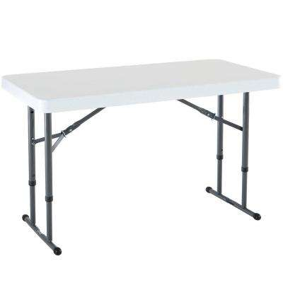48 in. White Plastic Adjustable Height Folding High Top Table