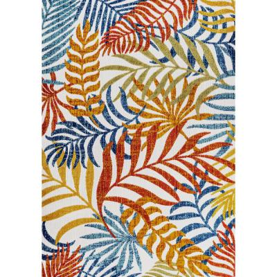 Tropics Palm Leaves Cream/Orange Indoor/Outdoor 8 ft. x 10 ft. Area Rug