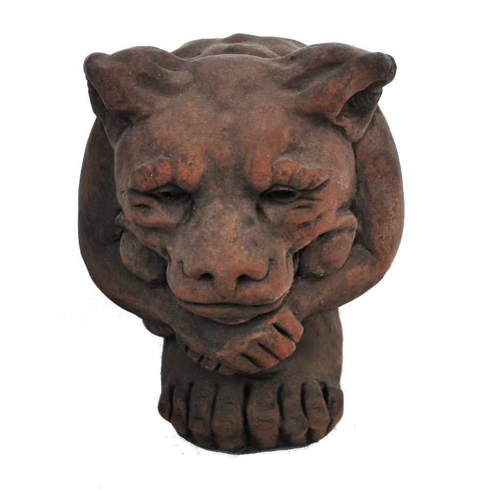 Cast Stone Small Igor Gargoyle Garden Statue Dark Walnut