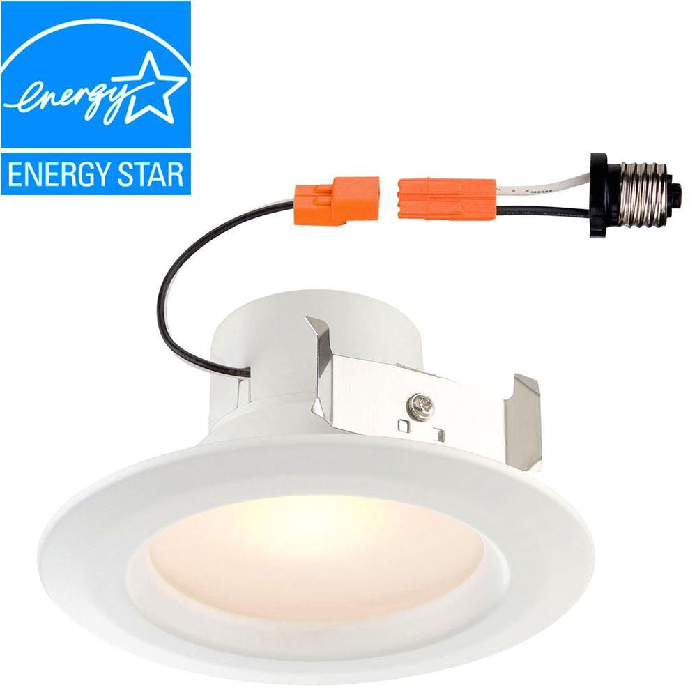 Standard Retrofit 4 in. White Recessed Trim Warm LED Ceiling Light with 91 CRI, 2700K