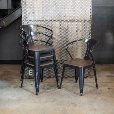 Black Metal and Wood Dining Chair (Set of 4)