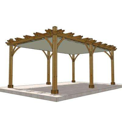 Breeze Cedar 12 ft. x 20 ft. Pergola with Retractable Canopy