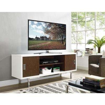 Manhattan White and Walnut with Full Sliding Doors 60 in. Entertainment Center