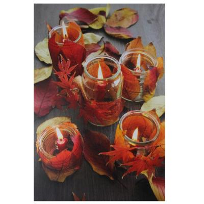 23.5 in. x 15.75 in. LED Lighted Autumn Leaves and Flickering Candles Canvas Wall Art