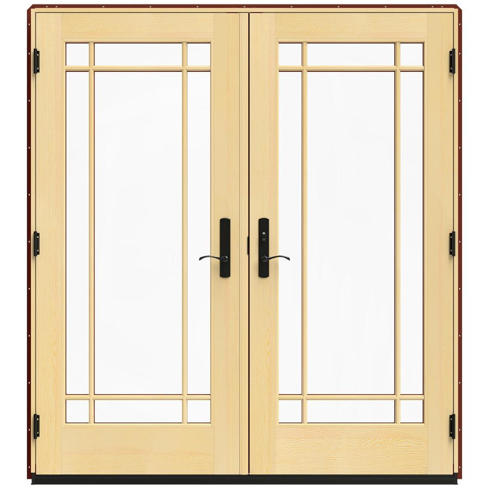 Jeld wen 72 in x 80 in w 4500 red clad wood left hand 9 lite french patio door w lacquered for Jeld wen french doors interior
