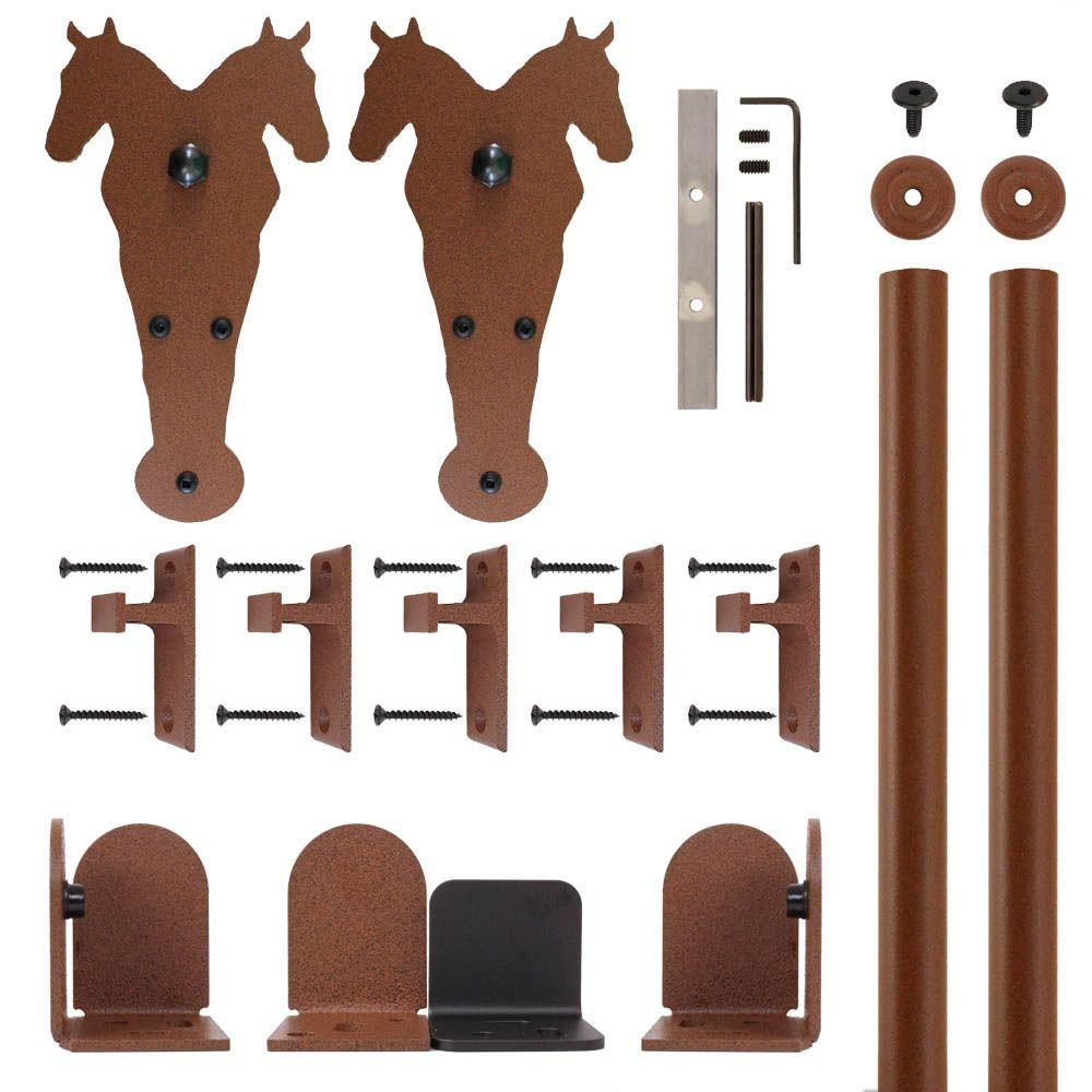 Quiet Glide Double Horse New Age Rust Rolling Door Hardware Kit For
