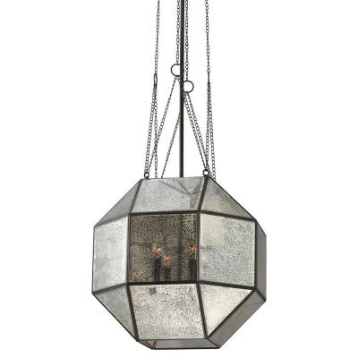 Lazlo Large 4-Light Heirloom Bronze Pendant with Mercury Glass