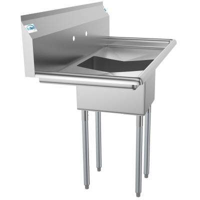 Freestanding Stainless Steel 44 in. 2-Hole Single Bowl Commercial Kitchen Sink