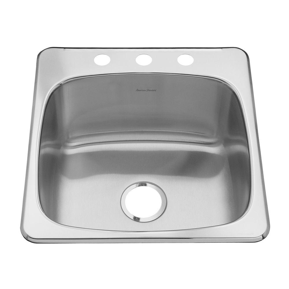 American Standard Prevoir Drop-In Stainless Steel 20.125x20.5625x10 3-Hole Single Bowl Kitchen Sink-DISCONTINUED
