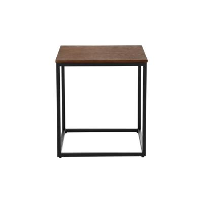 Donnelly Square Black Metal End Table with Haze Wood Finish Top (20 in. W x 22 in. H)