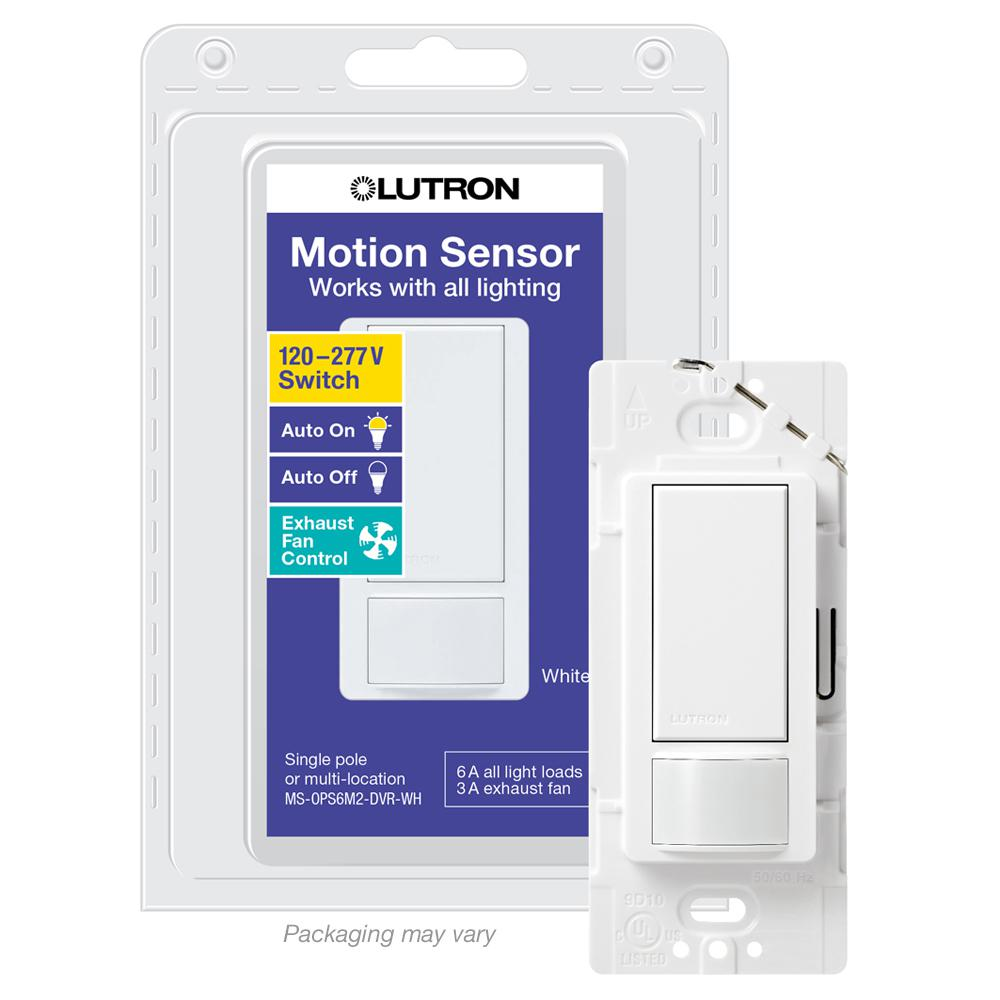 Lutron Maestro 6 Amp Dual Voltage Motion Sensor Switch Single Pole White Ms Ops6m2 Dvr Wh The Home Depot