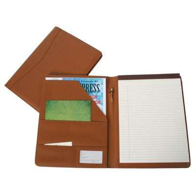 Genuine Leather Compact Writing Portfolio Organizer, Tan